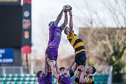 Ebbw Vale's Rhys Clarke claims the lineout - Mandatory by-line: Craig Thomas/Replay images - 04/02/2018 - RUGBY - Rodney Parade - Newport, Wales - Newport v Ebbw Vale - Principality Premiership