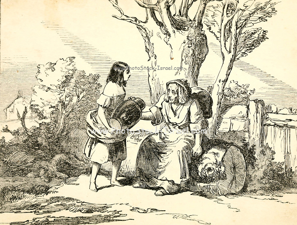 Patty feeds an old lady from Patty and her pitcher a  Fairy Tale from the book 'Fairy tales' by Forrester, Alfred Henry, 1804-1872 [Alfred Henry Forrester (10 September 1804 – 26 May 1872) was an English author, comics artist, illustrator and artist, who was also known under the pseudonym of Alfred Crowquill.