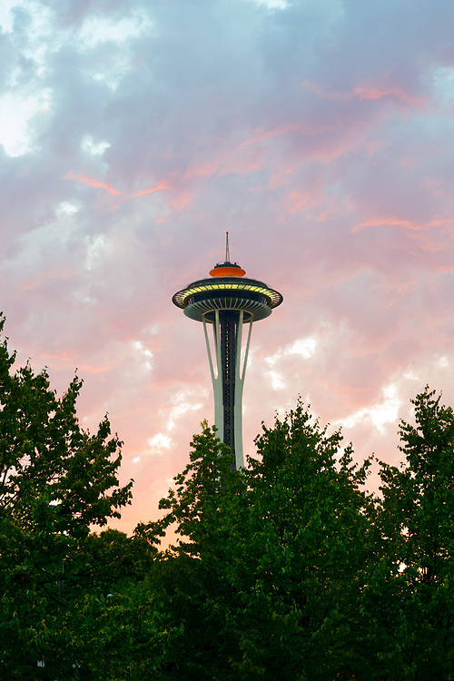 Seattle, Washington, United States - A view of the structure of the Space Needle. Built for the 1962 World's Fair, 2.3 million people visit the Space Needle each year.