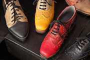 Colorful leather shoes, handmade by Olivier Rabbath, a Brooklyn bootmaker and teacher.