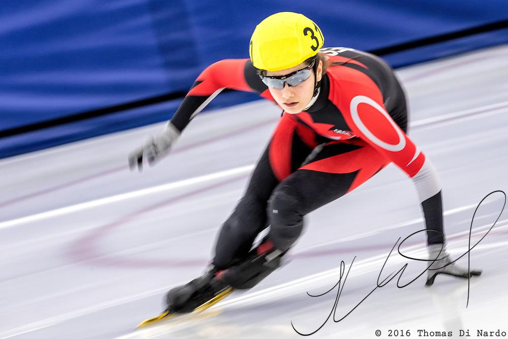 December 17, 2016 - Kearns, UT - Isabella Main skates during US Speedskating Short Track Junior Nationals and Winter Challenge Short Track Speed Skating competition at the Utah Olympic Oval.
