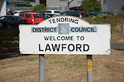 Road sign for the village of Lawford, Tendring district council, Essex, England