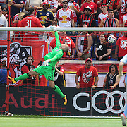 HARRISON, NEW JERSEY- JULY 24: Goalkeeper Josh Saunders #12 of New York City FC makes a save during the New York Red Bulls Vs New York City FC MLS regular season match at Red Bull Arena, Harrison, New Jersey on July 24, 2016 in Harrison, New Jersey. (Photo by Tim Clayton/Corbis via Getty Images)