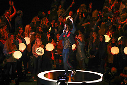 February 3, 2019 - Atlanta, GA, U.S. - ATLANTA, GA - FEBRUARY 03:  Adam Levine performs during the Pepsi Halftime Show during Super Bowl LIII between the Los Angeles Rams and the New England Patriots on February 3, 2019 at Mercedes Benz Stadium in Atlanta, GA.  (Photo by Rich Graessle/Icon Sportswire) (Credit Image: © Rich Graessle/Icon SMI via ZUMA Press)