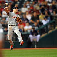 Omar Vizquel guns down a runner at second base on a fielder's choice in his first game back in Cleveland.