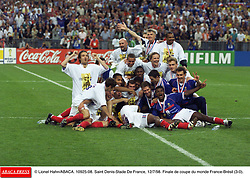 ©Lionel Hahn/ABACA.10925.08.Paris-France,12/07/ 1998. France made soccer history here on Sunday night, when the underdogs beat defending champions Brazil 3-0 to win the last World Cup this century before a delirious crowd of 80,000 people.