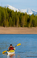 Kayaking on Hungry Horse Reservoir in the Flathead National Forest of Montana model released