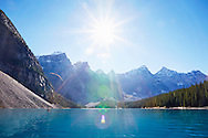 The clear, blue, glacial waters of Moraine Lake, Banff National Park, Alberta, Canada.
