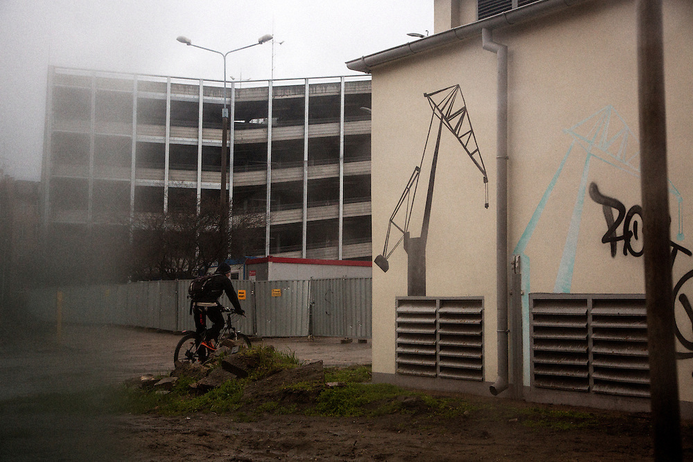 Street art featuring the iconic cranes of Gdansk.<br /> <br /> Gdansk and Remontowa Shipyards
