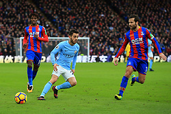 31 December 2017 -  Premier League - Crystal Palace v Manchester City - Bernardo Silva of Manchester City in action with Yohan Cabaye and Wilfried Zaha of Crystal Palace - Photo: Marc Atkins/Offside