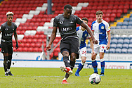 1-1, goal scored by Fejiri Okenabirhie of Doncaster Rovers from the penalty spot during the EFL Cup match between Blackburn Rovers and Doncaster Rovers at Ewood Park, Blackburn, England on 29 August 2020.