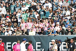 """Philadelphia Eagles fans wear pink shirts that spell """"Eagles""""  are seen during the NFL game between the Detroit Lions and the Philadelphia Eagles on Sunday, October 14th 2012 in Philadelphia. The Lions won 26-23 in Overtime. (Photo by Brian Garfinkel)"""