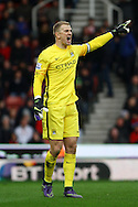 Manchester City Goalkeeper Joe Hart  makes his point. Barclays Premier league match, Stoke city v Manchester city at the Britannia Stadium in Stoke on Trent, Staffs on Saturday 5th December 2015.<br /> pic by Chris Stading, Andrew Orchard sports photography.
