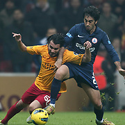 Galatasaray's Engin Baytar (L) and IBBSpor's Mahmut Tekdemir (R) during their Turkish Super League soccer match Galatasaray between IBBSpor at the TT Arena at Seyrantepe in Istanbul Turkey on Tuesday, 03 January 2012. Photo by TURKPIX