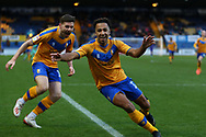 Mansfield Town forward Nicky Maynard (11) celebrates after scoring during the EFL Sky Bet League 2 match between Mansfield Town and Carlisle United at the One Call Stadium, Mansfield, England on 1 February 2020.