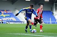 AFC Wimbledon attacker Ryan Longman (29) about to shoot at goal during the EFL Sky Bet League 1 match between AFC Wimbledon and Sunderland at Plough Lane, London, United Kingdom on 16 January 2021.