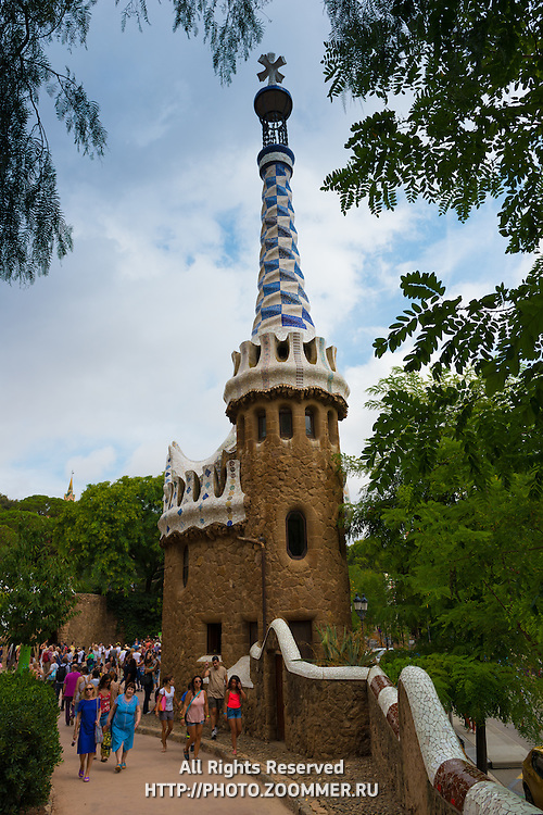 Guell park tower and fence, Barcelona, Spain