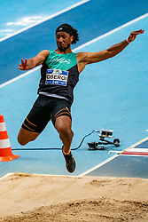 Ranki Oberoi in action on the long jump during AA Drink Dutch Athletics Championship Indoor on 21 February 2021 in Apeldoorn.