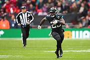 Jacksonville Jaguars running back, Ryquell Armstead (23) runs with the ball during the NFL game between Houston Texans and Jacksonville Jaguars at Wembley Stadium in London, United Kingdom. 03 November 2019