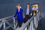 Former CEO and GOP presidential hopeful Carly Fiorina departs the USS Yorktown aircraft carrier museum after speaking to the South Carolina Young College Republicans mixer October 2, 2015 in Mt Pleasant, South Carolina. Florina attended despite extreme weather as Hurricane Joaquin passes offshore.