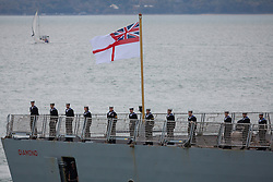 © Licensed to London News Pictures. 28/10/2016. Portsmouth, UK.  Royal Navy Type 45 Destroyer HMS Diamond returning to Portsmouth after completing her two month operation countering the illegal arms trade into Libya. The Portsmouth-based Destroyer has now handed over duties in the Central Mediterranean Sea to another Royal Navy ship, RFA Mounts Bay.  Photo credit: Rob Arnold/LNP