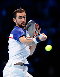Marin Cilic in action during his match against Jack Sock during day three of the NITTO ATP World Tour Finals at the O2 Arena, London.