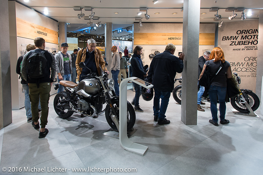 BMW Motorcycles display at the Intermot Motorcycle Trade Fair. Cologne, Germany. Sunday October 9, 2016. Photography ©2016 Michael Lichter.