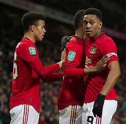 Marcus Rashford of Manchester United (C) celebrates scoring his sides first goal - Mandatory by-line: Jack Phillips/JMP - 18/12/2019 - FOOTBALL - Old Trafford - Manchester, England - Manchester United v Colchester United - English League Cup Quarter Final