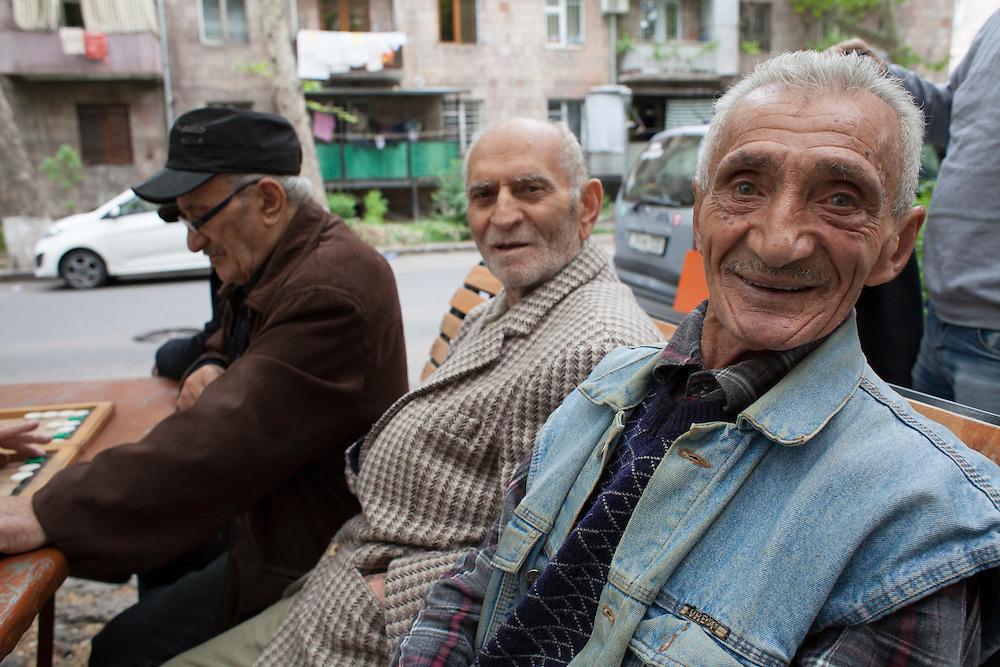 Backgammon players. Komitas, Yerevan, Armenia. May 11. 2015.