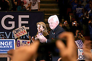 Senator Edward Kennedy and Caroline Kennedy at Presidental Candidate Barack Obama Rally at The Izod Center at the Meadowlands in New Jersey on February 4, 2008