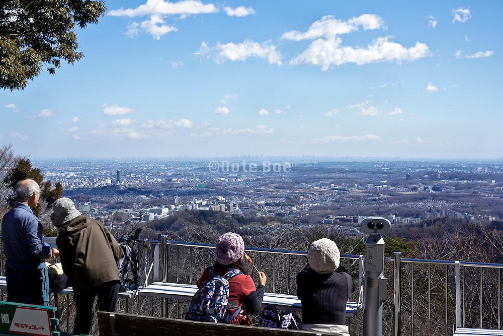 view from Meiji no Mori Takao Quasi-National Park with Tokyo in the distance Japan  Tokyo Hachioji ward