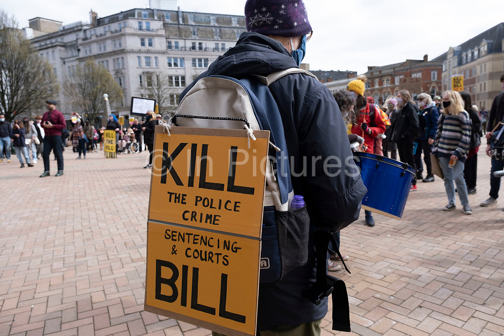 Protesters gather holding placards in the city centre at the Kill the Bill protest on 3rd April 2021 in Birmingham, United Kingdom. Demonstrations have been held all over the UK against the The Police, Crime, Sentencing and Courts Bill, whose legislation, which covers a broad range of issues, would give police more powers in controlling non-violent or static protests and imposing a set of new rules for police to deploy. Protesters see the bill as a disproportionate controls on freedom of expression and their right to protest peacefully.