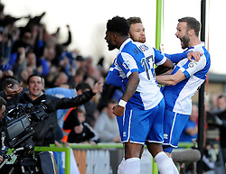 Bristol Rovers' Matty Taylor celebrates with Bristol Rovers' Ellis Harrison and Bristol Rovers' Andy Monkhouse - Photo mandatory by-line: Neil Brookman/JMP - Mobile: 07966 386802 - 29/04/2015 - SPORT - Football - Nailsworth - The New Lawn - Forest Green Rovers v Bristol Rovers - Vanarama Football Conference
