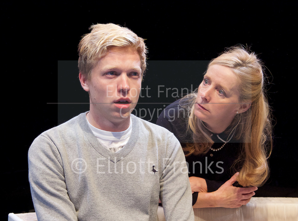 Positive<br /> by Shaun Kitchener <br /> at Park Theatre, Park 90, Finsbury Park, London , Great Britain <br /> 8th July 2015 <br /> press photocall<br /> <br /> directed by Harry Burton <br /> <br /> Timothy George as Benji <br /> <br /> Sally George as Margo <br /> <br /> <br /> <br /> <br /> Photograph by Elliott Franks <br /> Image licensed to Elliott Franks Photography Services