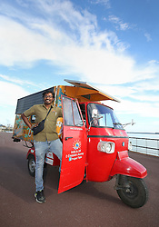Naveen Rabelli and his solar-powered tuk tuk arrives at Dover Docks at the end of a seven-month, 6,200 mile overland adventure from India.