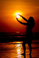 Girl in sunset. Cost Rica