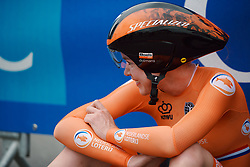 The win sinks in for Anna van der Breggen (NED) at the 2020 UEC Road European Championships - Elite Women ITT, a 25.6 km individual time trial in Plouay, France on August 24, 2020. Photo by Sean Robinson/velofocus.com