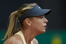May 9, 2018 - Madrid, Madrid, Spain - Maria Sharapova of Russia looks on in her match against Kristina Mladenovic of France during day five of the Mutua Madrid Open tennis tournament at the Caja Magica on May 9, 2018 in Madrid, Spain  (Credit Image: © David Aliaga/NurPhoto via ZUMA Press)