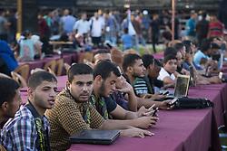 October 19, 2016 - Gaza City, The Gaza Strip, Palestine - Islamic Jihad supporters during a military parade marking the Islamic Jihad 29th foundation anniversary in Gaza city. (Credit Image: © Mahmoud Issa/Quds Net News via ZUMA Wire)