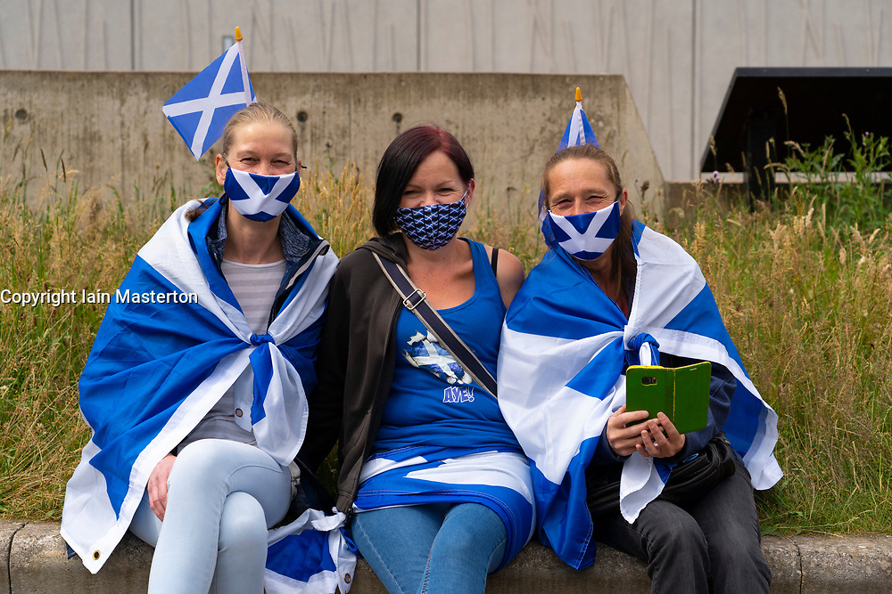 Edinburgh, Scotland, UK. 20 July, 2020. Pro Scottish independence demonstration organised by the All Under One Banner  (AUOB) group outside the Scottish Parliament at Holyrood in Edinburgh today.  Iain Masterton/Alamy Live News