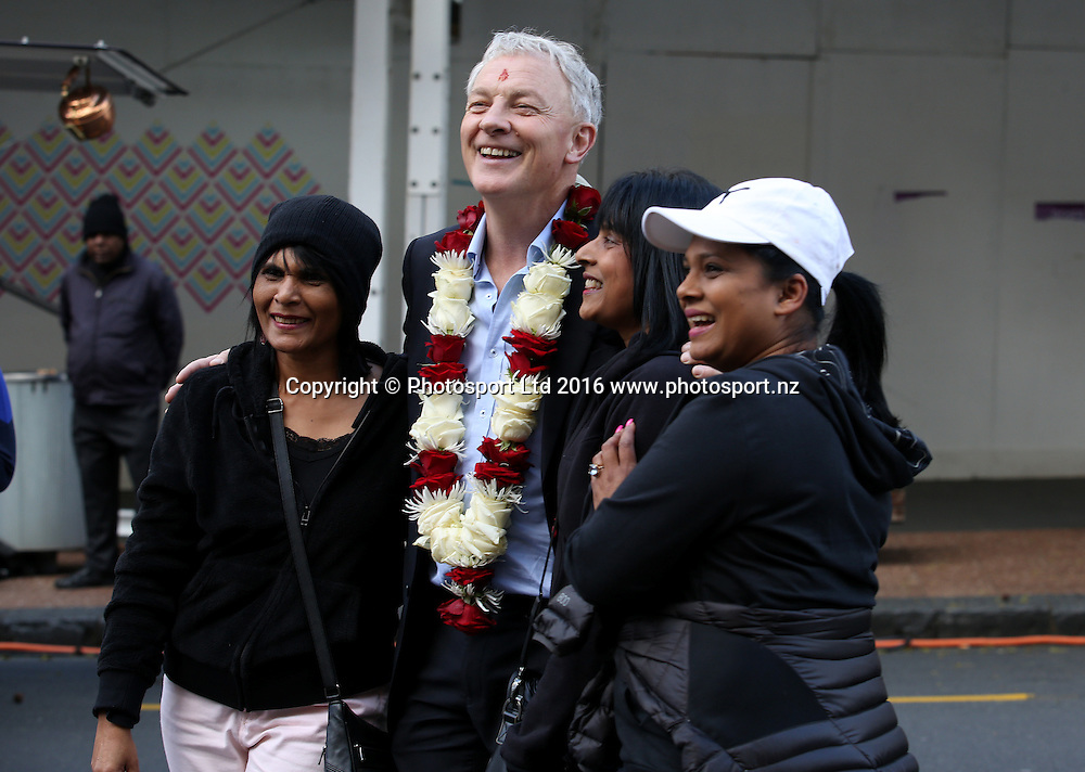 Auckland Mayor Elect Phil Goff poses for photographs at the Diwali Festival, Auckland, New Zealand. Saturday 15 October 2016. © Copyright Image: Ben Campbell / www.photosport.nz