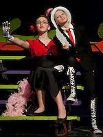 """Kayla Zarella as """"Mayzie la Bird""""  and Catherine McLaughlin as """"The Cat in the Hat"""" during final dress rehearsal for """"Seussical"""" beginning Thursday evening through Saturday at the GHS auditorium at 7pm with an additional matinee Saturday at 2pm.  (Karen Bobotas/for the Laconia Daily Sun)"""