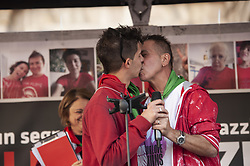 September 30, 2018 - Milan, MI, Italy - Angelo and Andrea, a gay couple whose house was burnt by Fascists in Verona are seen kissing themselves during the protest..Zero Intolerance (Intolleranza Zero) - Anti-racist protest against the increase of racist and xenophobic atmosphere in Italy, ANPI, ANED and it was organized by group Sentinelli di Milano in Duomo Square. (Credit Image: © Valeria Ferraro/SOPA Images via ZUMA Wire)