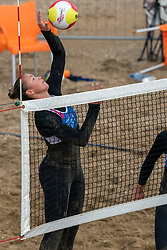 Emi van Driel in action. The DELA NK Beach volleyball for men and women will be played in The Hague Beach Stadium on the beach of Scheveningen on 22 July 2020 in Zaandam.