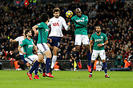 Tottenham Hotspur forward Fernando Llorente (18) and West Bromwich Albion defender Allan-Romeo Nyom (2) go up for a header during the Premier League match between Tottenham Hotspur and West Bromwich Albion at Wembley Stadium, London, England on 25 November 2017. Photo by Andy Walter.