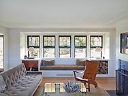Living room and dog of Rhode Island Coastal home