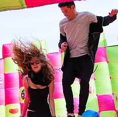 2016-03-03 Adults enjoy bouncy castle fun on South Bank