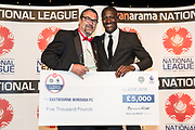 National League Trust best community programme presented to John Barnard of Eastbourne Borough by Terry Angus during the National League Gala Awards Evening at Celtic Manor Resort, Newport, South Wales on 9 June 2018. Picture by Shane Healey.