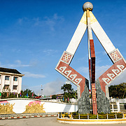 The Independence Monument in downtown Sam Neua (also spelled Samneua, Xamneua and Xam Neua) in northeastern Laos.