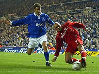 Photo: Scott Heavey.<br />Birmingham City v Middlesbrough. FA Barclaycard Premiership. 03/03/2004.<br />Massimo Maccarone crosses ahead of Kenny Cunningham